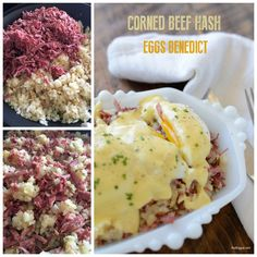 Corned Beef and Hash meets Eggs Benedict and it was meant to be. It's like the ultimate creamy comfort savory breakfast ever! Brunch Recipes, Gourmet Recipes, Cooking Recipes, Yummy Recipes, Recipies, What's For Breakfast, Savory Breakfast, Breakfast Meals, Canned Corned Beef