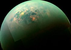 As NASA's Cassini spacecraft soared past Saturn's moon Titan, it recently caught a glimpse of bright sunlight reflecting off hydrocarbon seas. In the past, Cassini had captured, separately, views of the polar seas and the sun glinting off them, but this is the first time both have been seen together in the same view.