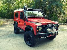 1980 Land Rover Defender 90. This 90 inch model has the diesel 300TDi engine, a 2 inch lift kit, BF Goodrich All-Terrain tires, a winch, a snorkel, rock sliders, leather seats, race spec roll bar, front and rear diff guards, a sport-tuned exhaust and quite a few other additions.  By GB4x4.com