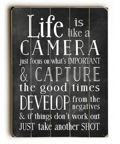Another great find on #zulily! 'Life Is Like a Camera' Wood Wall Art by ArteHouse #zulilyfinds