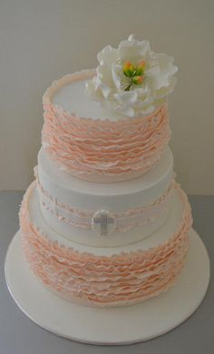 ruffled christening cake - Cake by Sue Ghabach - CakesDecor