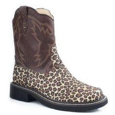 "$46.95 Roper Women's 8"" Chunk With Animal Glitter Vamp Boot - Brown/Leopard"
