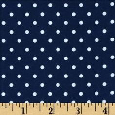 Kaufman Cozy Cotton Flannel Small Dot Navy from @fabricdotcom  Designed by Studio RK for Robert Kaufman, this double-napped (brushed on both sides) flannel is perfect for quilting, apparel and home decor accents.