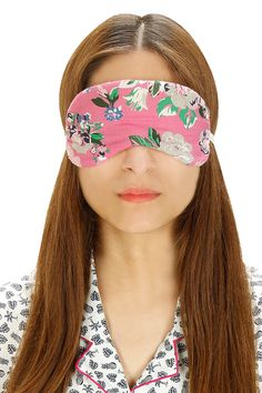 Pink and blue floral printed eyemask by Dandelion. Shop at:  http://www.perniaspopupshop.com/designers/dandelion #dandelion #eyemask #perniaspopupshop #shopnow #cute #happyshopping