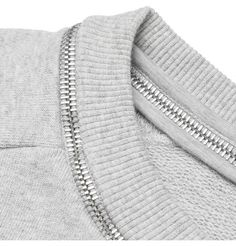 Grey sweatshirt with zipper trim neckline; sewing idea; fashion design detail // Saint Laurent