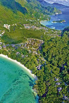 Aerial view of Mahe. Constance ephelia Seychelles.
