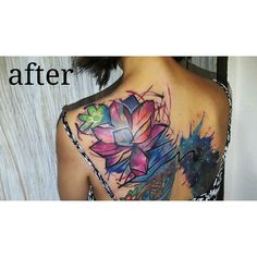 finally my watercolor tattoo ,, covered up well done by @suthalontong @urbantattoo