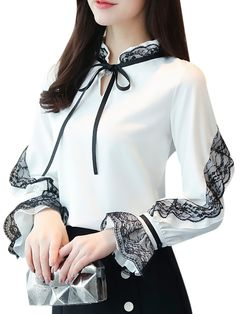 Buy Women's Blouse Stand Collar Long Flare Sleeve Lace Patched Bow Top & Blouses - at Jolly Chic