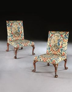 A Pair of George II Mahogany Side Chairs attributed to William Hallett from Newhailes House, Scotland with original Aubusson tapestry upholstery
