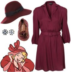 Outfit inspired by Charlotte from Walt Disney's The Princess and the Frog - belted shirt dress, flats, hat, princess stud earrings