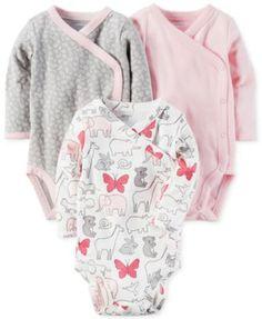 Carter's 3-Pk. Cotton Side-Snap Bodysuits, Baby Girls (0-24 months) | macys.com