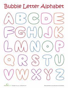Worksheets: Bubble Letter Alphabet