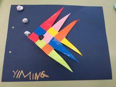 Tapa de peix amb tires de cartolines trenades. Cedida per Isabel Lemus