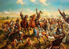 Verano del 680, tras haber vencido a los árabes en Constantinopla, Constantino IV se dirige hacia Ongal en el delta del Danubio para combatir a las tribus búlgaras que allí se asientan. Protegidos por empalizadas y marismas, estos últimos resisten todas las cargas bizantinas, hasta que un contraataque de la caballería búlgara acaba en desastre para el Imperio, que acaba por ceder esas tierras, que serían el embrión del Estado búlgaro, y pagar un humillante tributo. Cortesía de VAsil Goranov.