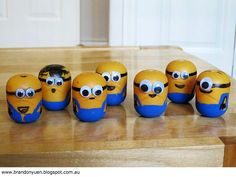Minions made from kinder surprise toy shells..  Having sooo many ideas for games and little prizes for inside :)