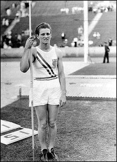 A photo of my Great Aunt Babe during the 1932 Olympics.     She won gold in the javelin.