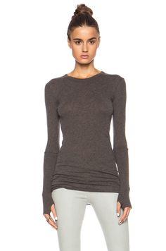 Enza Costa Cashmere Cuffed Crew Cotton-Blend Sweater in Major Brown   FWRD [1]
