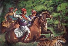 Great prince Sambhaji on hunt