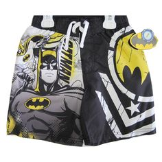 Your boy will enjoy his water playtime wearing this Batman swim wear shorts. The shorts feature a graphic print in the great visual appeal representing an image inspired by Batman cartoons on a black white yellow background and are a great addition to his