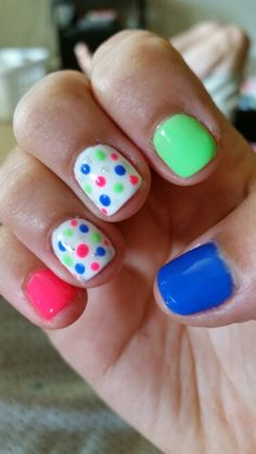 Mali-blue me away, lime all the time, brights have more fun - gelish - summer nails - dotting tool