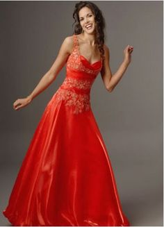 Red Straps Sweetheart Natural Floor-length Satin Prom Dress With Beading Appliques #dress