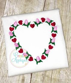 Heart Roses Embroidery – Creative Appliques $13 for 4x4 option plus shirt cost