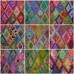 I ❤ to quilt . . . Lovely design walls created at the Kaffe Fassett workshop. Neat to see how different the pattern looks with different color schemes.