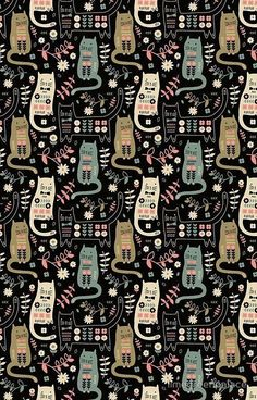 'Cat Folk ' Case/Skin for Samsung Galaxy by limegreenpalace - Cat Art - Cat Wallpaper Wallpaper Gatos, Cat Wallpaper, Wallpaper Backgrounds, Crazy Cat Lady, Crazy Cats, Cat Pattern Wallpaper, Buy A Cat, Cool Walls, Pattern Art