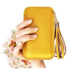 Handmade Genuine Leather Phone case in Yellow / Handbag / Wallet / gift / birthday / leather case / travel / Women gift / For Her /
