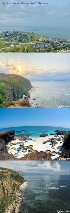 Let's view Ly Son Island photos to explore the surreal blue sea and beautiful landscapes of this island in Quang Ngai, Vietnam. Sons Island, Vietnam Destinations, Vietnam Travel, Beautiful Landscapes, Travel Inspiration, Traveling By Yourself, Natural Beauty, River, Sea