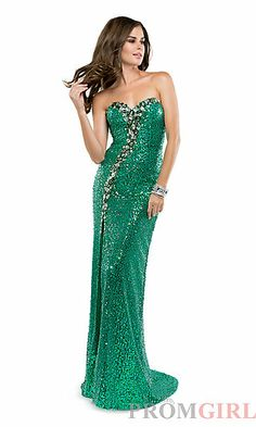 Long Strapless Sweetheart Sequin Dress at PromGirl.com
