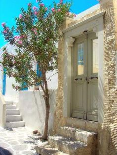 Village street in Crete (Kriti), Greece.