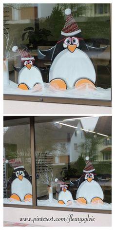 Déco vitrines hiver pingouins