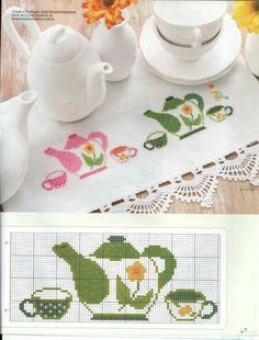 This Pin was discovered by Pat Cross Stitch Kitchen, Cross Stitch Love, Cross Stitch Borders, Cross Stitch Flowers, Cross Stitch Designs, Cross Stitching, Cross Stitch Embroidery, Cross Stitch Patterns, Hand Embroidery Patterns