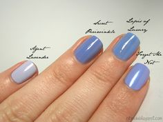 Essence Forget Me Not from the Blossoms etc. trend edition, Essie Lapis of Luxury, China Glaze Secret Periwinkle and China Glaze Agent Lavender