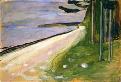 Beach in Åsgårtstrand Edvard Munch - 1895