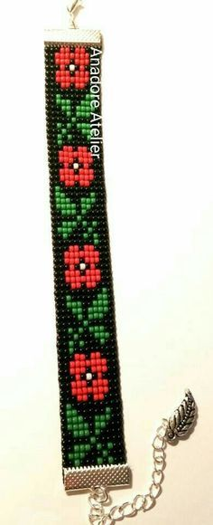 Design your own photo charms compatible with your pandora bracelets. Bead loom bracelet Traditional bracelet Toho by AnadoreAtelier Bead Loom Bracelets, Beaded Bracelet Patterns, Bead Loom Patterns, Beading Patterns, Beading Ideas, Beading Supplies, Pandora Bracelets, Loom Beading, Bead Weaving