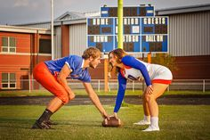 Senior boy and girl football player and cheerleader face-off pictures photography High School - Southern Indiana and Louisville, KY