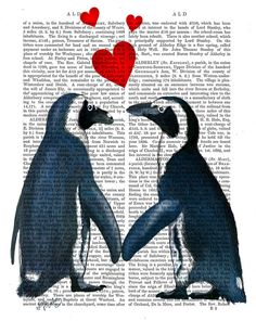 Penguins With Love Hearts Original Illustration Art by FabFunky, $15.00