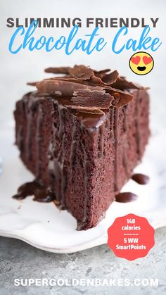 Delicious & SO EASY! Only 140 calories per slice, syns depending on optional toppings. Slimming World Chocolate Cake, Low Syn Chocolate, Slimming World Cake, Slimming World Desserts, Slimming World Recipes Syn Free, Healthy Chocolate, Chocolate Recipes, Chocolate Cakes, Low Syn Cakes