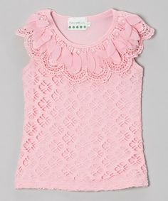 Loving this Pink Pearl Flower Lace Top - Infant, Toddler & Girls on #zulily! #zulilyfinds