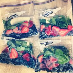 Smoothie freezer packs with spinach, banana, blueberries, and strawberries. Add one of these packs to a blender with some Greek yogurt, a splash of milk (or almond milk, if you prefer), and maybe even a little protein powder for a healthy, delicious breakfast smoothie!