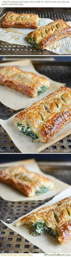 Spinach Puff Pastry Rolls with Feta and Ricotta Recipe- PictureTheRecipe com This flaky pastry stuffed with creamy spinach goodness is golden savory perfection! Spinach Puff Pastry, Puff Pastry Recipes, Puff Pastries, Spinach Ricotta, Puff Recipe, Creamy Spinach, Spinach Rolls, Cheese Pastry, Spinach Pie