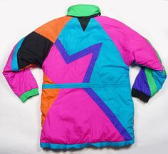 Vintage 90's NEON Aztec Color block jacket- WHY was this ever in style?