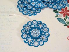 Set of 6 Embossed Snowflake Christmas Gift Tags  by WhimsyArtCards, $9.00