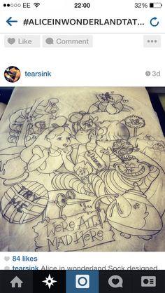 Alice in Wonderland tattoo sleeve ideas :) - collage