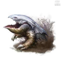 I did several monsters for the Dungeons and Dragons 5th edition Monster Manual, and I'm posting those that have been previewed so far! Here's the bulette, also known as a landshark, also known as a...