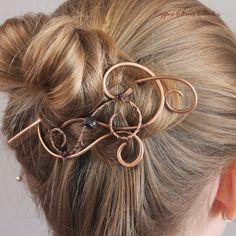 Hair Jewelry Dark Purple Crystal Beaded by CopperStreetStudios