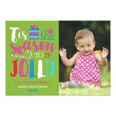 #Colorful Season to be Jolly Christmas Photo Card - #Xmas #ChristmasEve Christmas Eve #Christmas #merry #xmas #family #kids #gifts #holidays #Santa