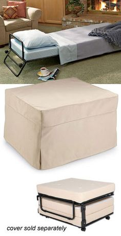 Fold-Out Ottoman Bed   Hide a guest bed in plain sight! Ottoman by day...bed by night. Perfect for minimalist lifestyle.